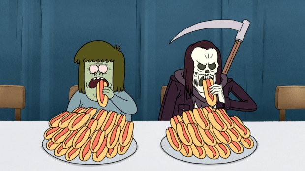 Hot dog eating contest with a green kid and death personified.