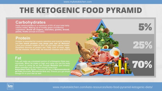 Ketogenic diet food pyramid chart.