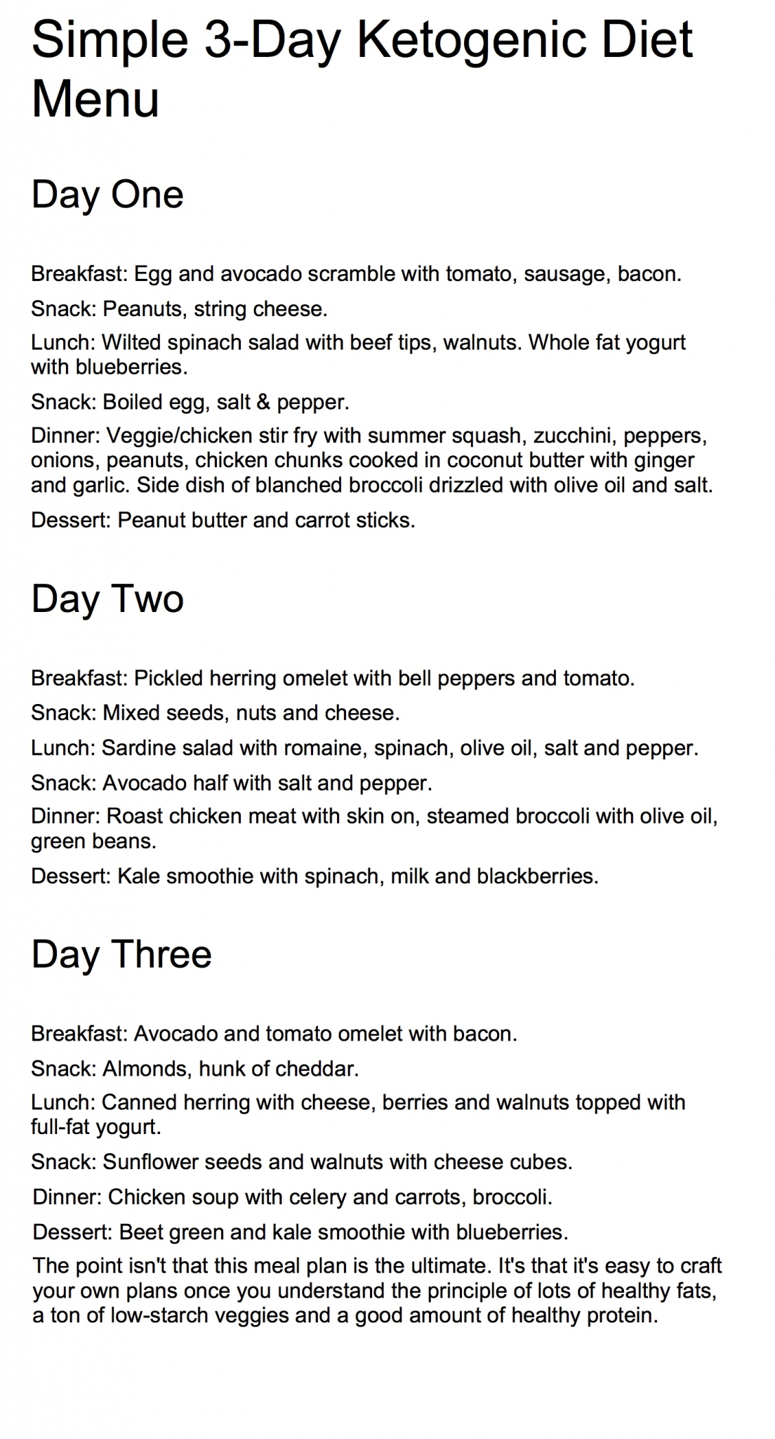A Simple Ketogenic Diet Menu