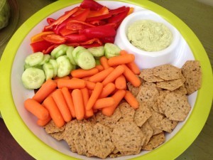 Gluten free crackers, veggies and hummus