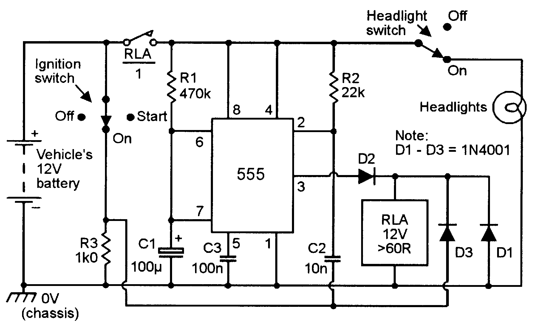 lm555 timer circuit diagram
