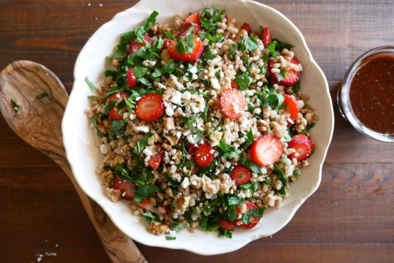 Strawberry Basil Farro Salad www.nuttynutritionandfitness.com