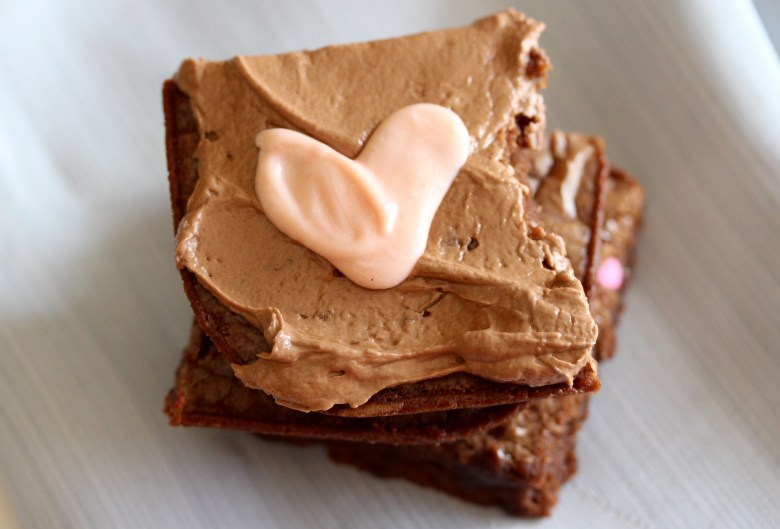 nutella brownies with candy hearts