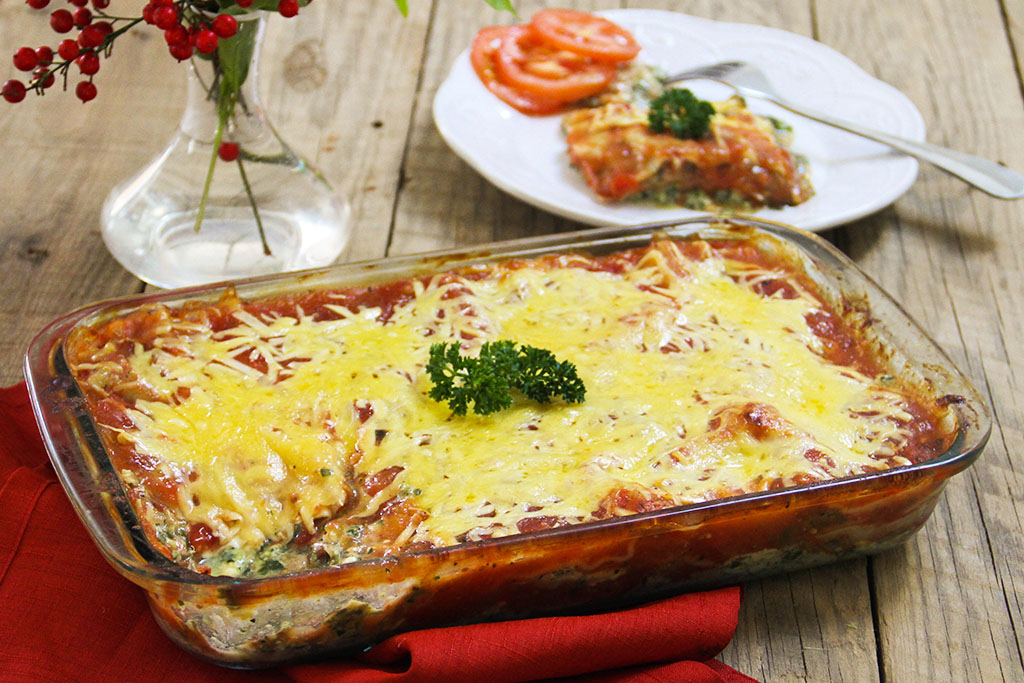 meat free lasagna with nuveg spinach