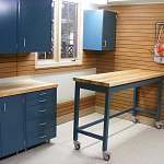 Modern House Interior Garage Workbenches And Cabinets