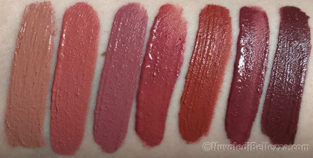 Swatches Rossetti Liquidi Lip Tint - foto senza flash