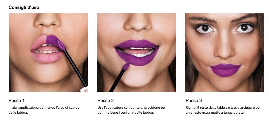 applicazione tinte labbra Maybelline Superstay Matte Ink