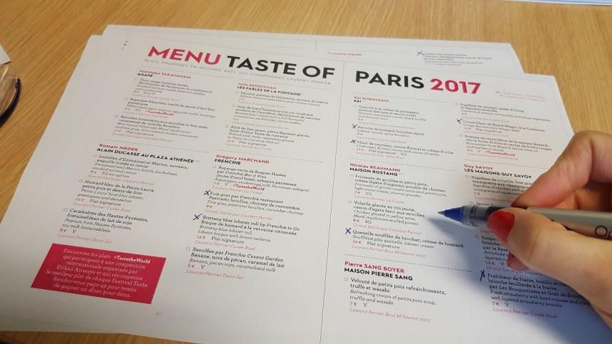 Menu Taste of Paris 2017