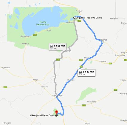 Itinéraire Okonjima Plains camp