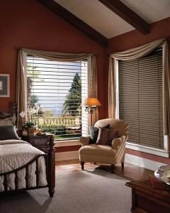 Hunter Douglas reveal with magnaview blinds in a Colorado Springs, Colorado bedroom