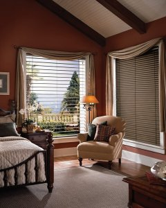Hunter Douglas reveal with magnaview blinds in a Colorado Springs, Colorado bedroom