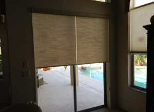 roller shades on a sliding glass door in Colorado Springs