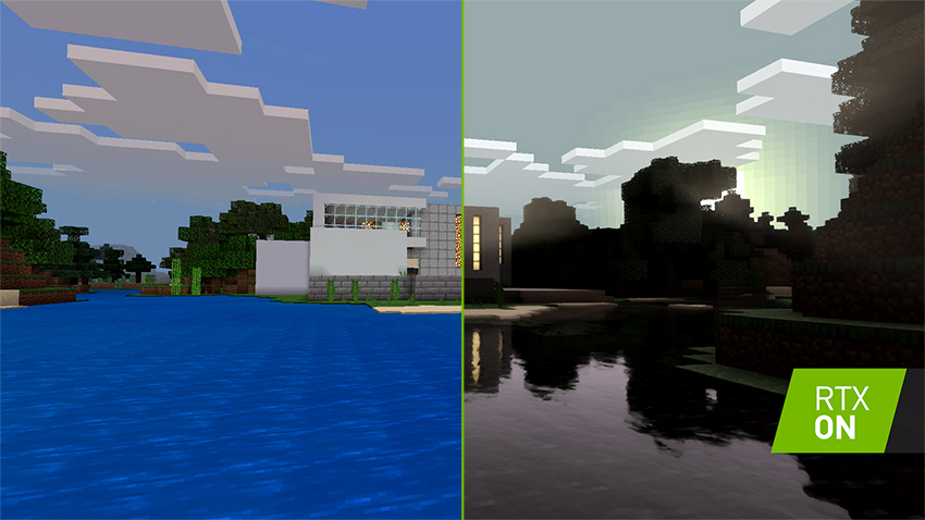 This image has an empty alt attribute; its file name is Minecraft%20with%20RTX%20and%20HD%20Textures%20Comparison-850px.jpg
