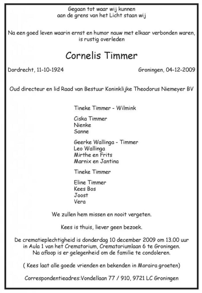 Rouwkaart Kees Timmer