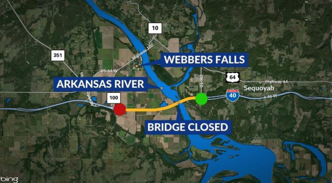 Barges on Arkansas River creates partial Interstate 40 closure