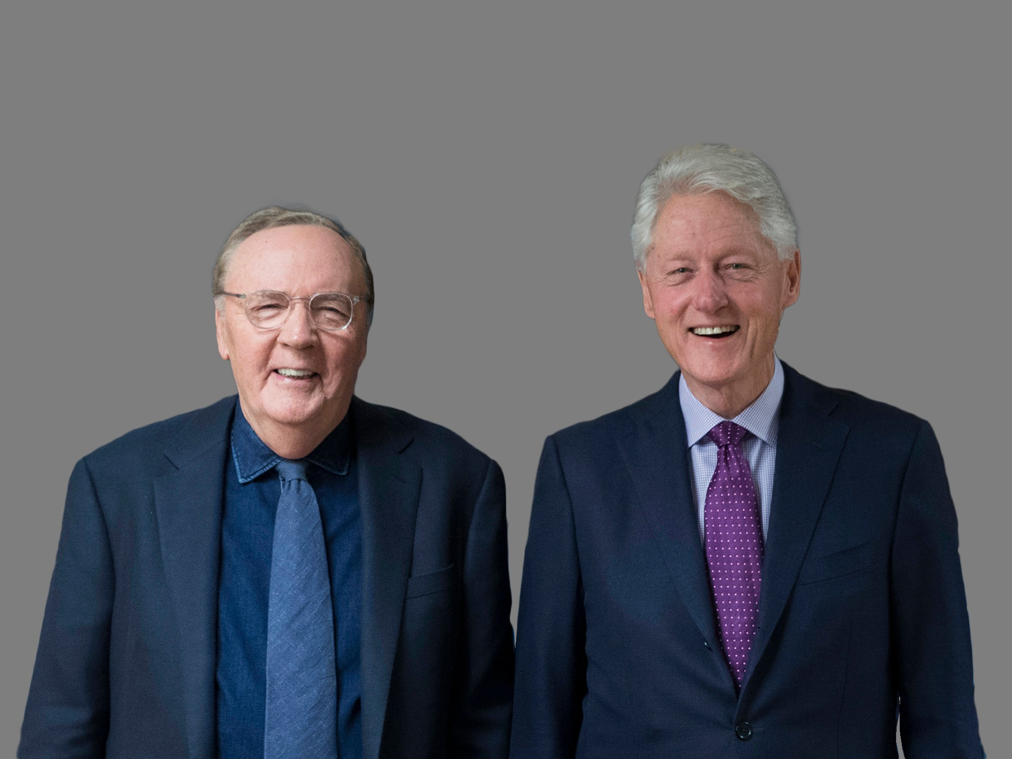 (L) James Patterson, author and Former President Bill Clinton