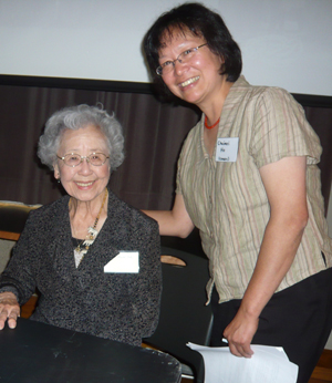 AYPE organizer Chuimei Ho (right) with Shea Shizuko Aoki, 94, the oldest participant at the symposium. (AYPE organizer Chuimei Ho (right) with Shea Shizuko Aoki, 94, the oldest participant at the symposium.)