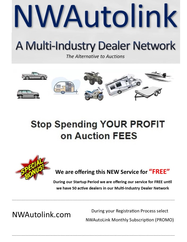 NWAutolink.com is offering our services free while we grow... We are free until we reach 50 Dealers