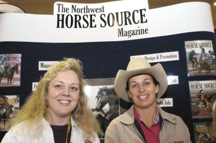 NW Horse Source publisher Karen Pickering with Clinician Julie Goodnight