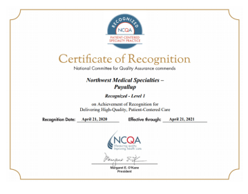 certificate of recognition from the NCQA