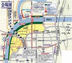 筑後川花火の交通規制MAP