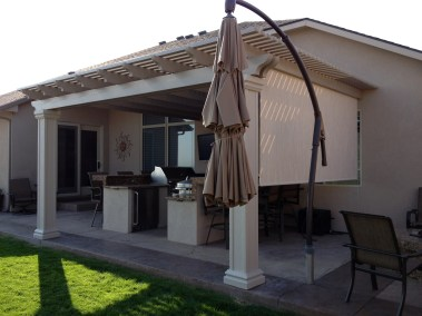 Stucco able Solar Shade On Outdoor Kitchen