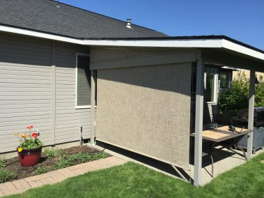 Cable Guided Toffee Patio Shade with Screen