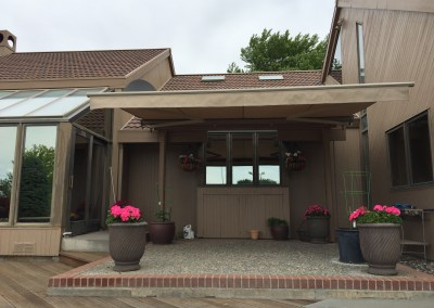 Retractable Awning on Mid Century Home