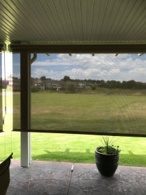 Mocha Solar Shade with View Left Side