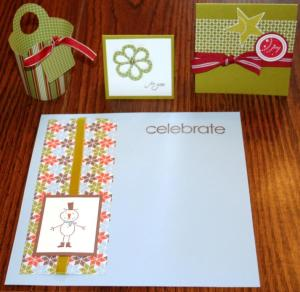 Then, in the morning, I got to try my hand at making a few quick make and take projects myself. We got to make a card, a 6x6 scrapbook page, and use the BigShot to make a basket and a card. Each of these was easy but fun to make.
