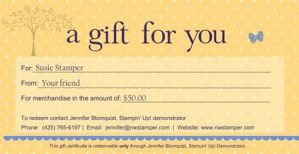 Stampin Up Gift Certificates Northwest Stamper
