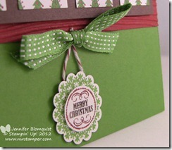 Merry Christmas hanging wreath card close up