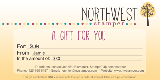 Stampin' Up Gift Certificate