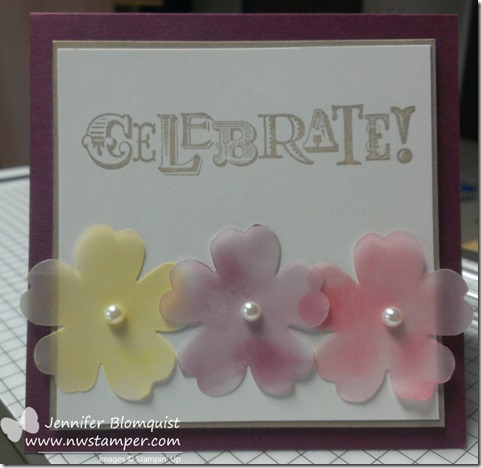 Sponged Vellum Flowers card
