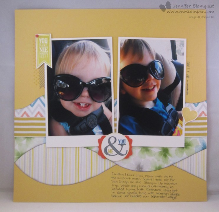 Perfect Pennants stamped scrapbook page