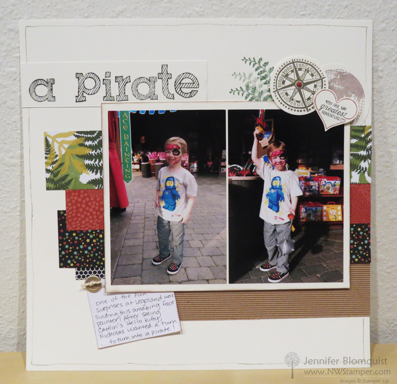 Legoland Pirate scrapbook page with Botanical Blooms paper 2