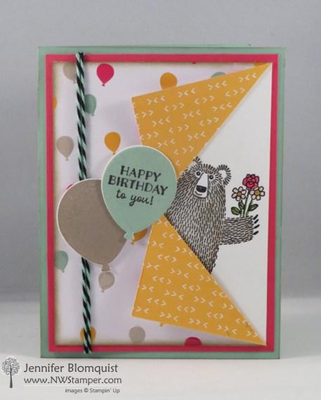 Party Pants Collar Fold bear birthday card
