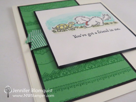 Delicate Details lace tone-on-tone background in green - Jennifer Blomquist, NWstamper.com