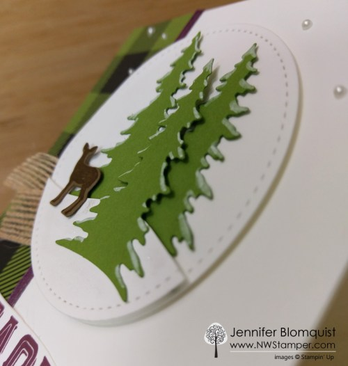 Carols of Christmas die cut forest scene christmas card detail view