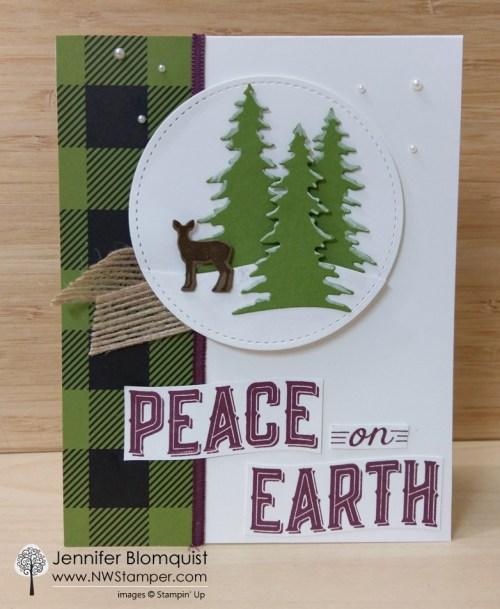 Carols of Christmas die cut forest scene christmas card nt