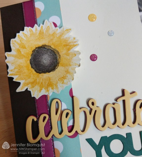 Celebrate you Painted Harvest birthday card close up