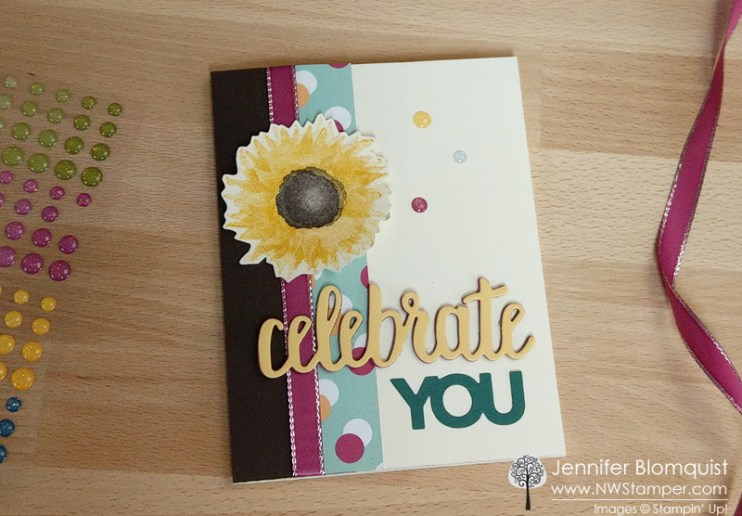 Celebrate You painted harvest birthday card