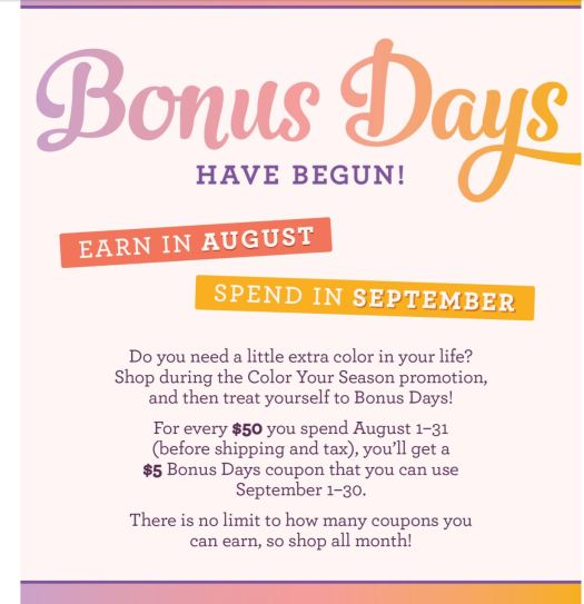 Bonus Days Details - Spend $50, get a coupon for $5 in September