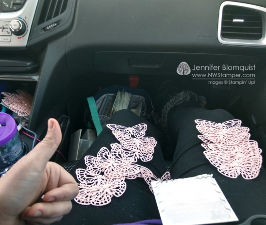 Making swaps in the car. Adding Stampin' dimensionals to the back of springtime impressions butterfly die cuts.