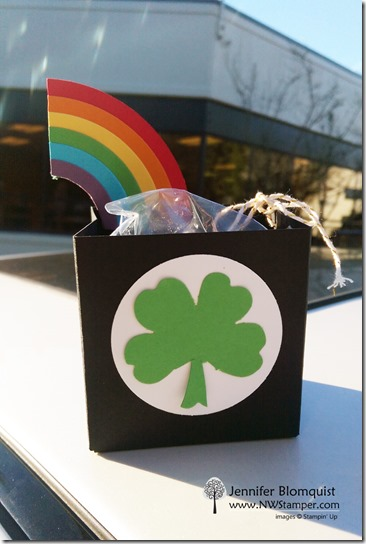 pot of gold st patricks day gift bag with rainbow