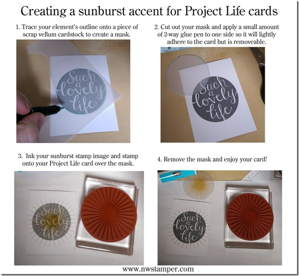 creating a sunburst on a project life card