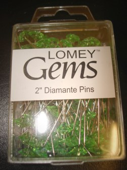 Apple Green Diamante Pins