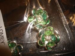 Apple Green Gem Flower Pins