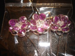 Purple Gem Flower Pins
