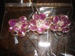 Purple Gem Flower Pins